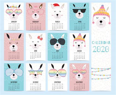 animal calendar   llama  children vector premium
