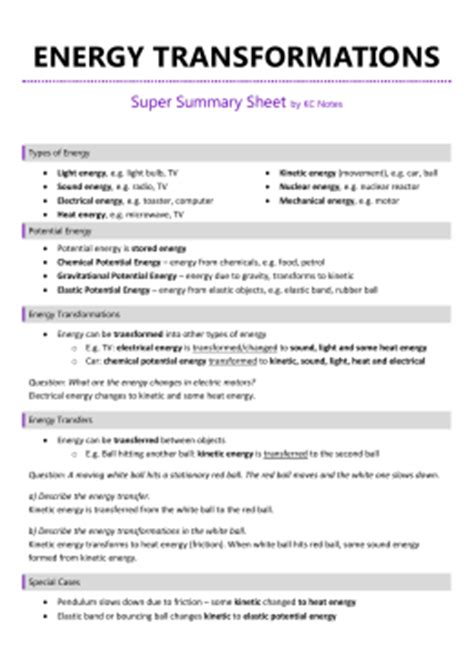 Introduction To Energy Worksheet Answers by Introduction To Energy Worksheet