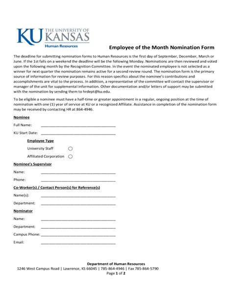 Nominating Committee Report Template Employee Of The Month Nomination Form Kansas Free