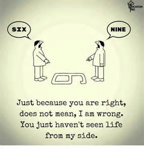 nine six just because you are right does not mean i am