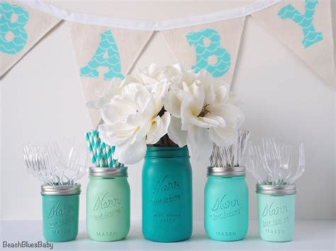 blue centerpieces for baby shower boy baby shower centerpiece vase jars blue emerald mint