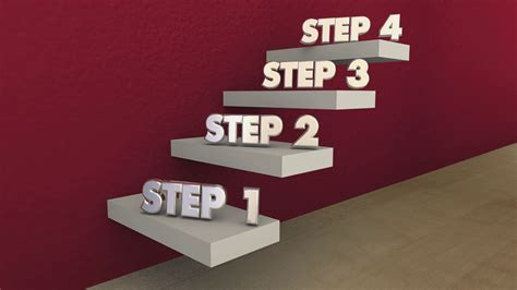 Steps 1 to 4 One Four Process Stairs 3d Animation Motion ... Y Logo 3d