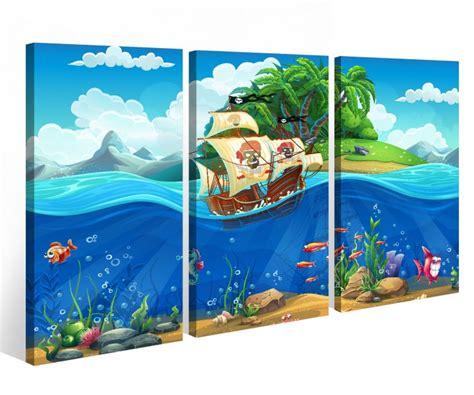 bild kinderzimmer meer leinwandbild 3 tlg kinderzimmer pirat schiff schatzkarte