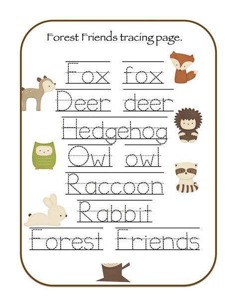 printable animal words preschool printables forest animals printable woodland