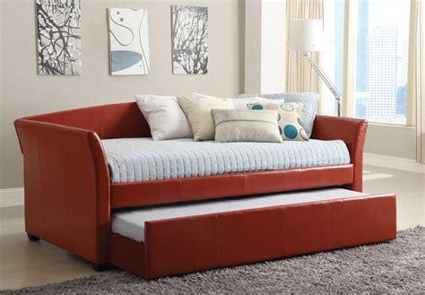 leather day bed delmar red leather platform daybed twin trundle