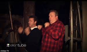 haunted house ellen eric stonestreet braves universal s haunted houses on ellen daily mail online