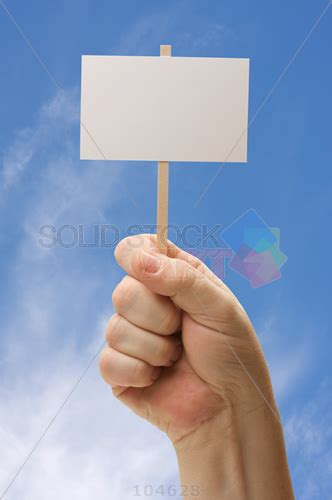 stock photo  hand holding empty picket sign