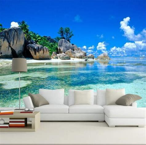 3d tropical beach island wallpaper for walls wall mural