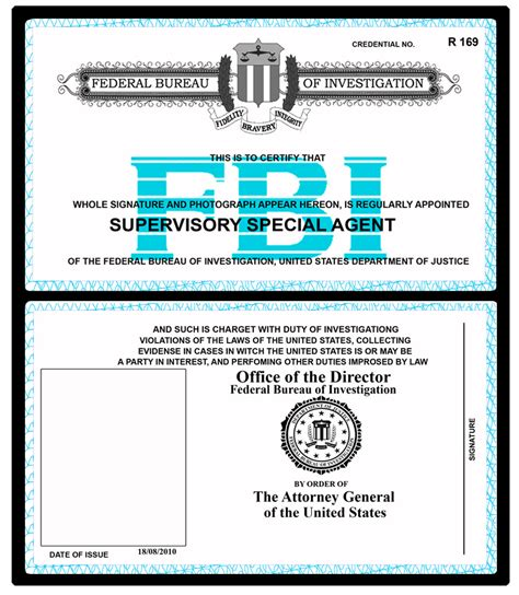 enforcement id card template fbi badge wallet