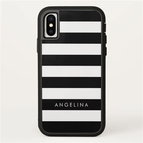 white pattern iphone case black and white striped pattern custom name iphone x case