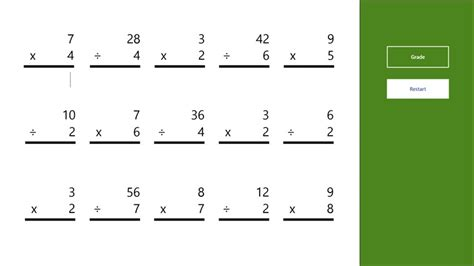 Multiplication And Division Worksheets by Multiplication And Division Worksheet Windows 8 Apps