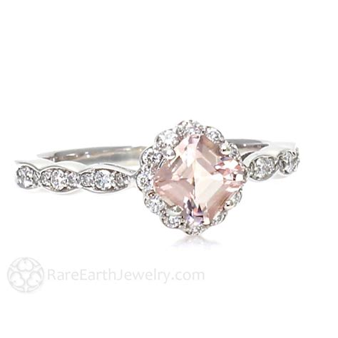 asscher cut morganite and halo engagement ring