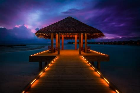 maldives anantara resort sunset pier bungalow ocean hd