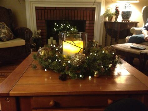 Centerpieces For Living Room Table Furniture Decoration With Light Candle In Clear Glass Jar Plus Green Garland And Pine