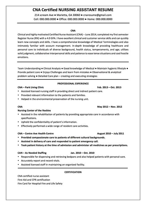 Resume Objective Exles For Certified Nursing Assistant cna resume exles cna resume templates