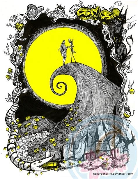 nightmare before arts and crafts nightmare before moon illustration print