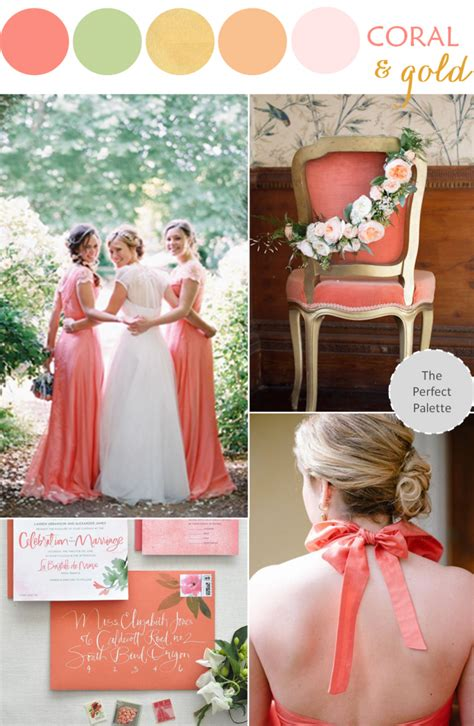 wedding color palettes wedding color palette coral green gold the