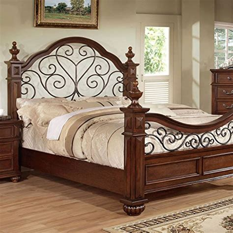 antique queen bed frame landaluce transitional style antique dark oak finish queen