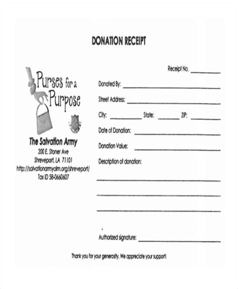 salvation army donation receipt template 11 donation receipt form sle free sle exle