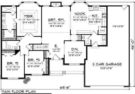 3 bedroom ranch house floor plans 3 bedroom ranch floor plans first floor plan of ranch house plan 73301 books worth