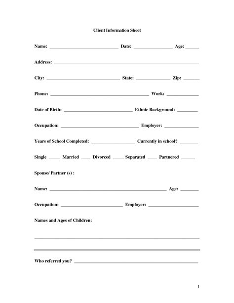 Client Information Form Template Free by 8 Client Information Sheet Templates Word Excel Pdf Formats