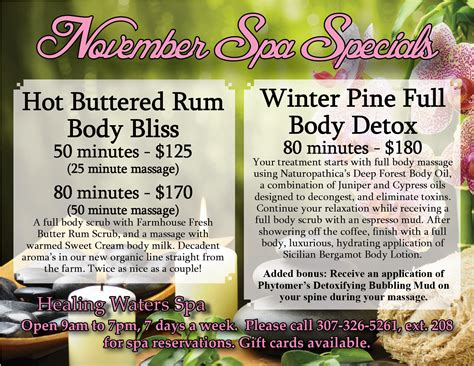 spa specials at the healing waters spa