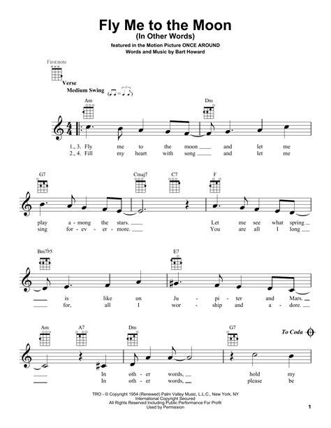 tutorial ukulele moon song fly me to the moon in other words sheet music direct