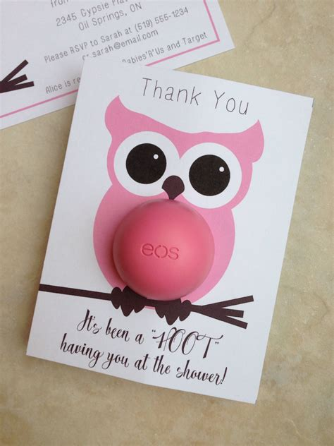 Owl Themed Baby Shower Favor Ideas by Owl Themed Baby Shower Eos Lip Balm Favor Pink Brown