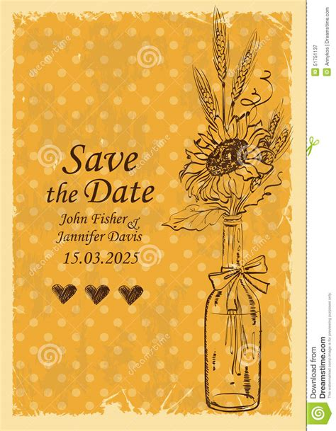 wedding invitation with mason jar and sunflower stock