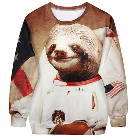 Astronaut Sloth Meme - astronaut space sloth animal meme graphic print sweater