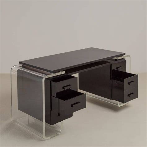 Lucite Vanity Table Large Black And Clear Lucite Vanity Table Or Desk 1980s For Sale At 1stdibs