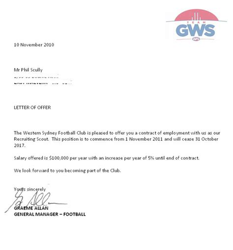 Offer Letter Signed Tom Scully S Offered 680k In November 2010 The Advertiser