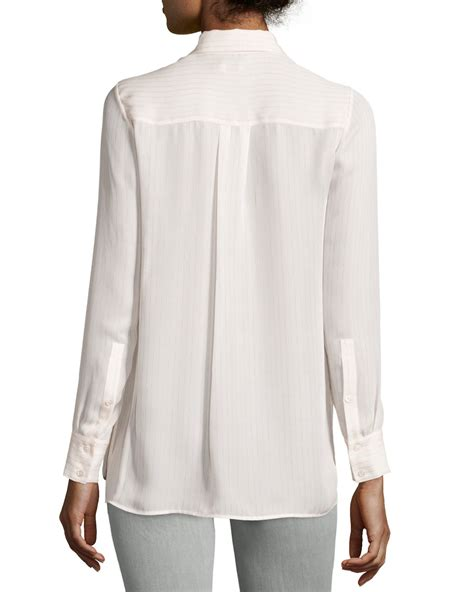 Striped Sleeve Blouse vince striped sleeve silk blouse in white lyst