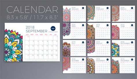 calendar design pattern calendar 2018 vintage decorative elements oriental