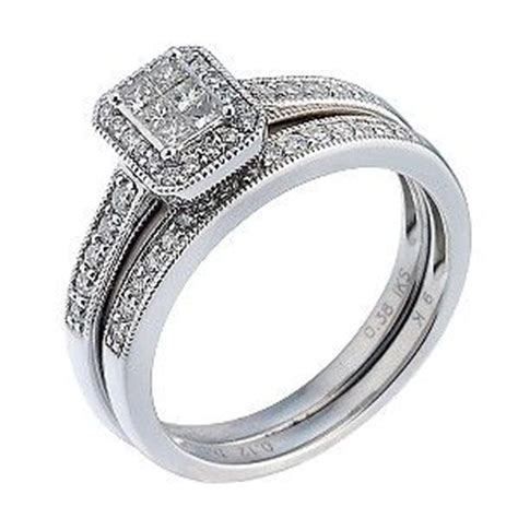9ct white gold half carat bridal ring set h