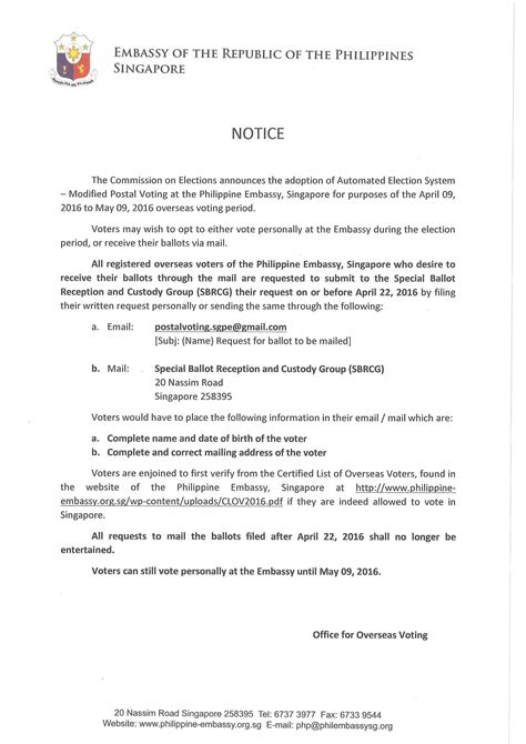 Invitation Letter Sle Singapore Elections 2016 Important Notice Embassy Of The Philippines In Singapore