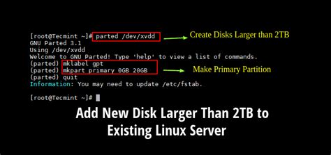 fdisk format gpt how to add a new disk larger than 2tb to an existing linux