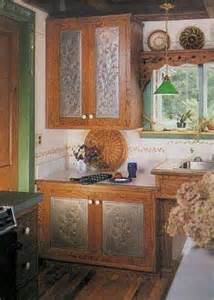 Kitchen Cabinets With Tin Inserts Different Punch Patterns Kitchen Remodeling Ideas