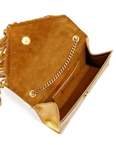 saint laurent monogram fringe crossbody bag gold