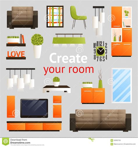 create your room furniture objects set stock vector illustration of cozy