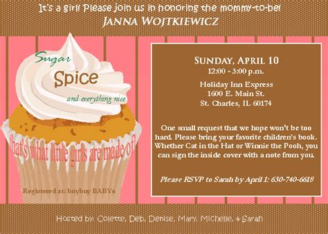 Sugar And Spice And Everything Baby Shower by Pink Tye Design Baby Shower Invite Sugar And Spice And