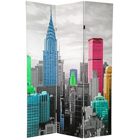 Room Dividers Nyc 6 ft colorful new york room divider roomdividers