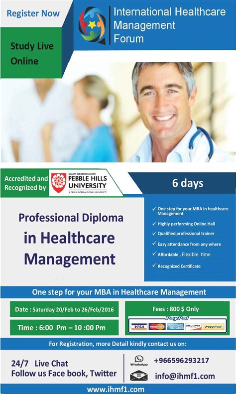 Healthcare Mba In Usa by Professional Diploma Mba In Healthcare Management Pebble