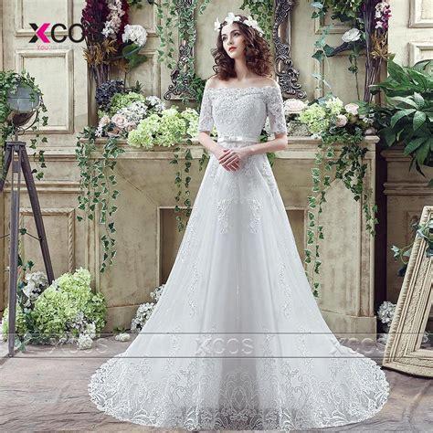 1711053 Putih Lengan Panjang Gaun Pengantin Wedding Gown Wedding Dress putih gown promotion shop for promotional putih gown on