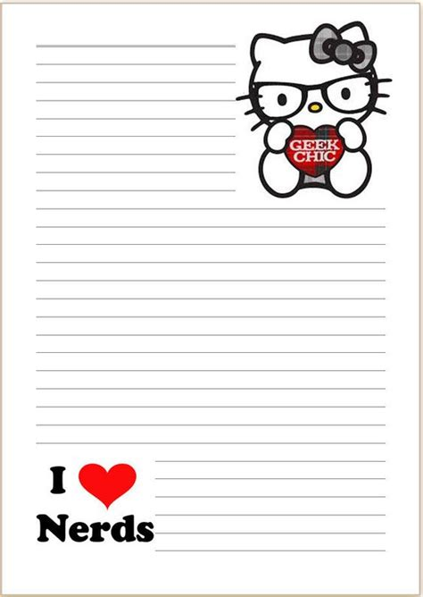 free printable hello kitty lined paper details about hello kitty geek chic letter writing paper