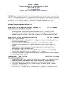 Underwriting Technician Sle Resume by Underwriting Credit Analyst Resume