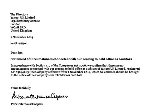 Resignation Letter Format Of Auditor Yahoo S Uk Auditors Resigned Business Insider