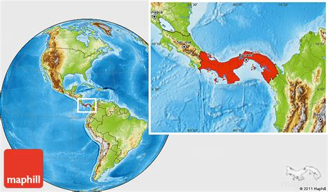 physical map of panama physical location map of panama