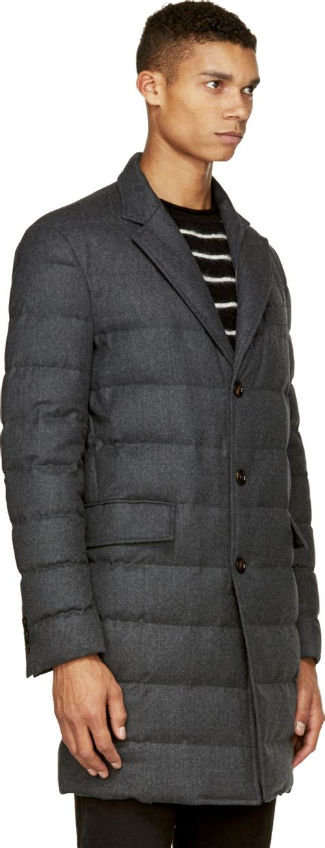 moncler grey quilted wool mael coat in gray for lyst