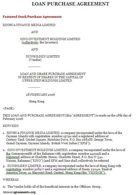 Sle Letter Of Agreement In Lending Money loan purchase agreement sle loan purchase agreement